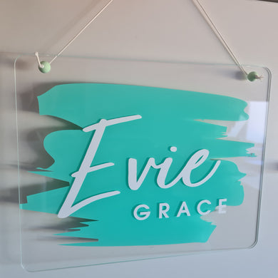 Clear Acrylic Name Board | Turquoise