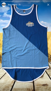 Royal/Sky Blue Diagonal Shearing Singlet - Carlie Rees Custom Designs
