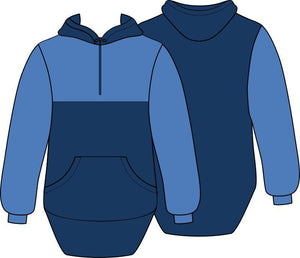 Blue Navy Shearing Hoody with half zip front - Carlie Rees Custom Designs