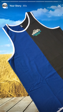 Load image into Gallery viewer, Dark Blue Dark Grey Shearing Singlet - Just Shear