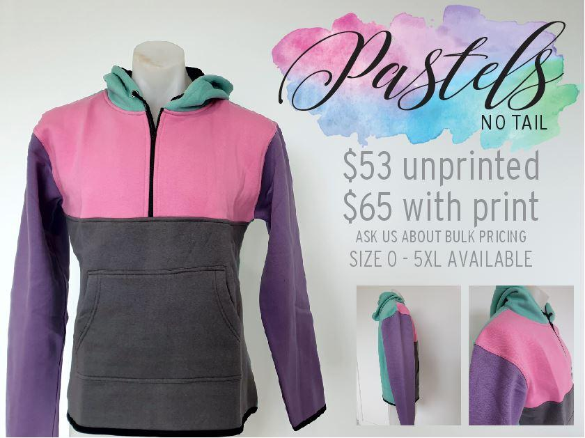 Pastels Hoody with half zip front - No Tail - Carlie Rees Custom Designs