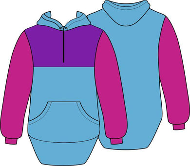 Pink Blue Purple Shearing Hoody with half zip front - Carlie Rees Custom Designs