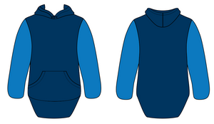 Royal Blue & Navy No Zip With Cuffs Shearing Hoody