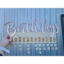 "Load image into Gallery viewer, Mirror & Glitter ""Birthday"" Hanger 500mm wide - FREE SHIPPING"