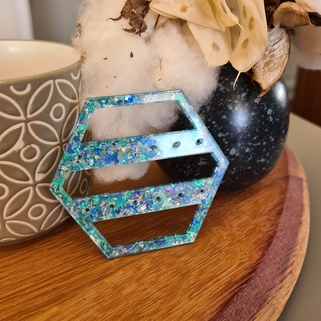 Chunky Blue Glitter Hexagon Travel Earring Holder