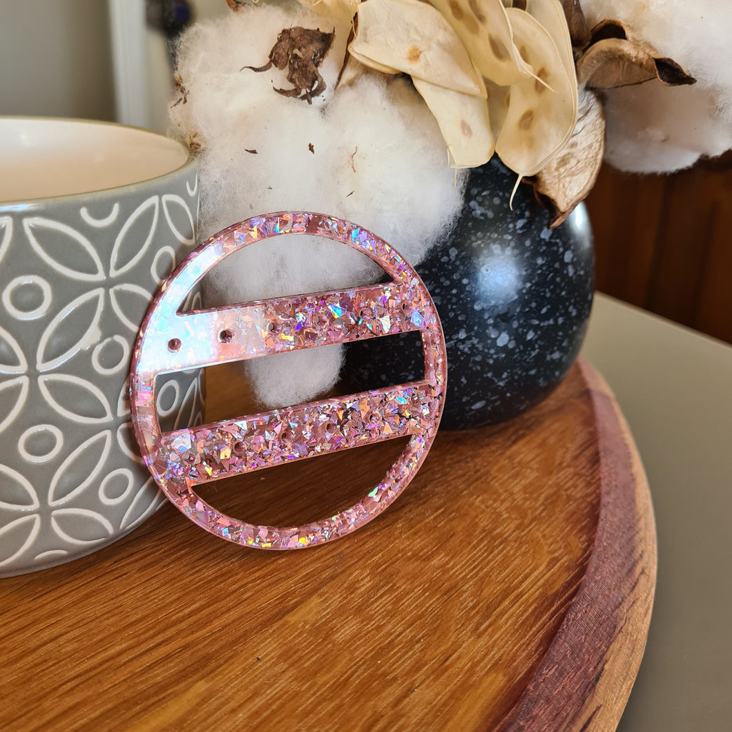 Chunky Peach Glitter Round Travel Earring Holder