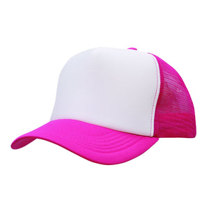 Custom Printed Hot Pink & White Trucker Cap - Carlie Rees Custom Designs