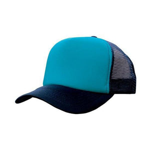 Custom Printed Navy & Cyan Trucker Cap - Carlie Rees Custom Designs