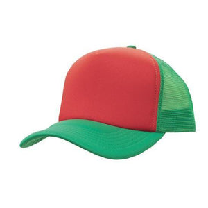 Custom Printed Red & Green Trucker Cap - Carlie Rees Custom Designs