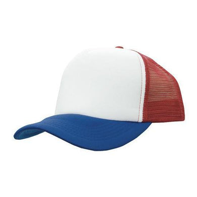 Custom Printed Red, Royal & White Trucker Cap - Carlie Rees Custom Designs