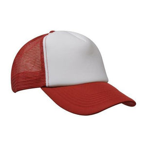 Custom Printed Red & White Trucker Cap - Carlie Rees Custom Designs