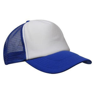 Custom Printed Royal Blue & White Trucker Cap - Carlie Rees Custom Designs