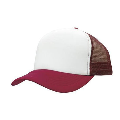 Custom Printed White & Maroon Trucker Cap - Carlie Rees Custom Designs