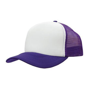 Custom Printed White & Purple Trucker Cap - Carlie Rees Custom Designs
