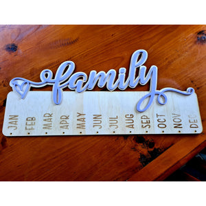 """Family"" Birthday Hanger 500mm wide - FREE SHIPPING"