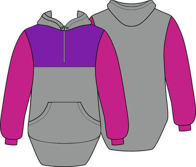 Purple Grey Pink Shearing Hoody with half zip front - Carlie Rees Custom Designs