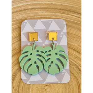 Mint Monstera Stud Set