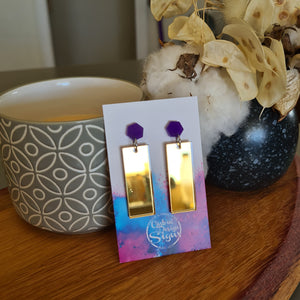 Mirror Gold & Dark Purple Earring