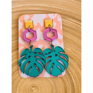 Mirror Monstera Stud Set
