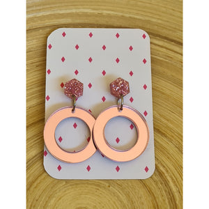 Mirror Pink Earring Set