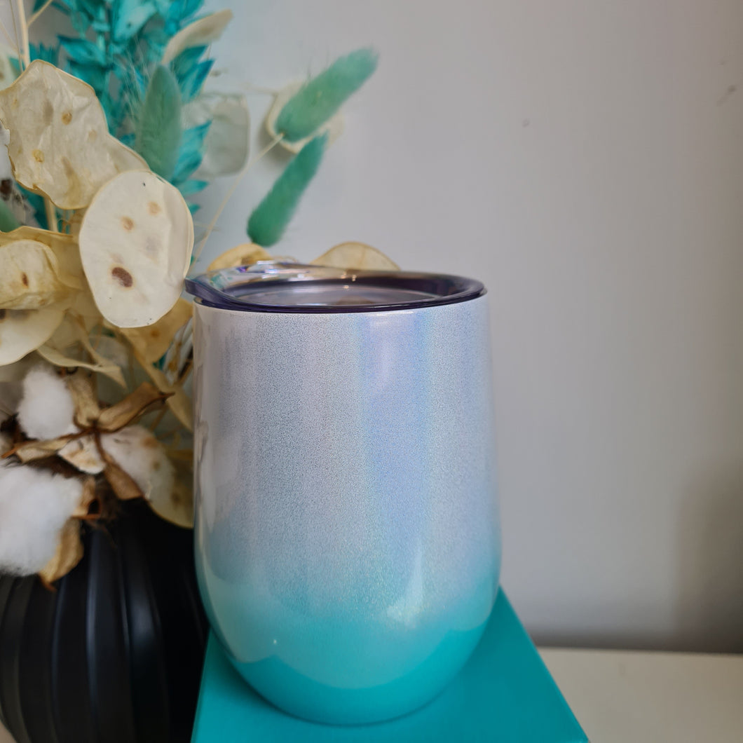 Ombre Glitter Turquoise Thermo Cup - Free Shipping