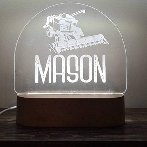 Personalised Wood Base Night Light (White Led) - FREE SHIPPING