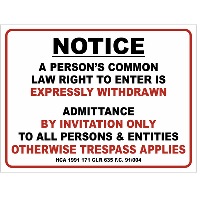 Trespassing Mining Notice Metal Sign 300x400mm - Carlie Rees Custom Designs