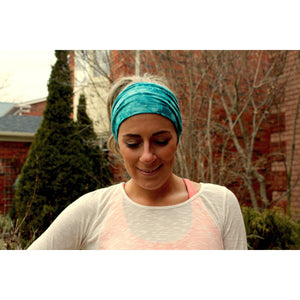 Turquoise Tye-Dye Tapered Yoga Headband