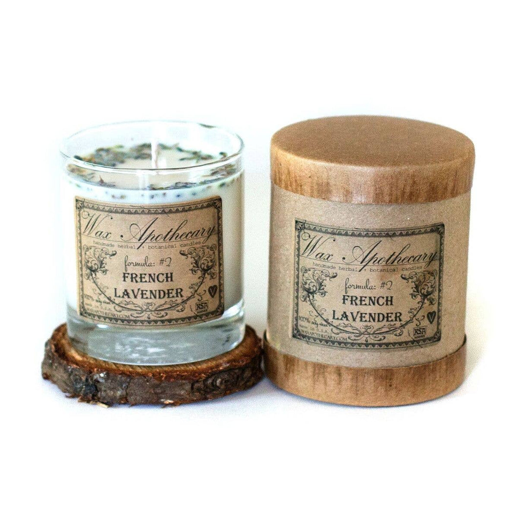 French Lavender Botanical Candle in Scotch Glass in Box 7oz
