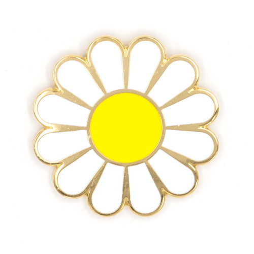 White Daisy Enamel Pin