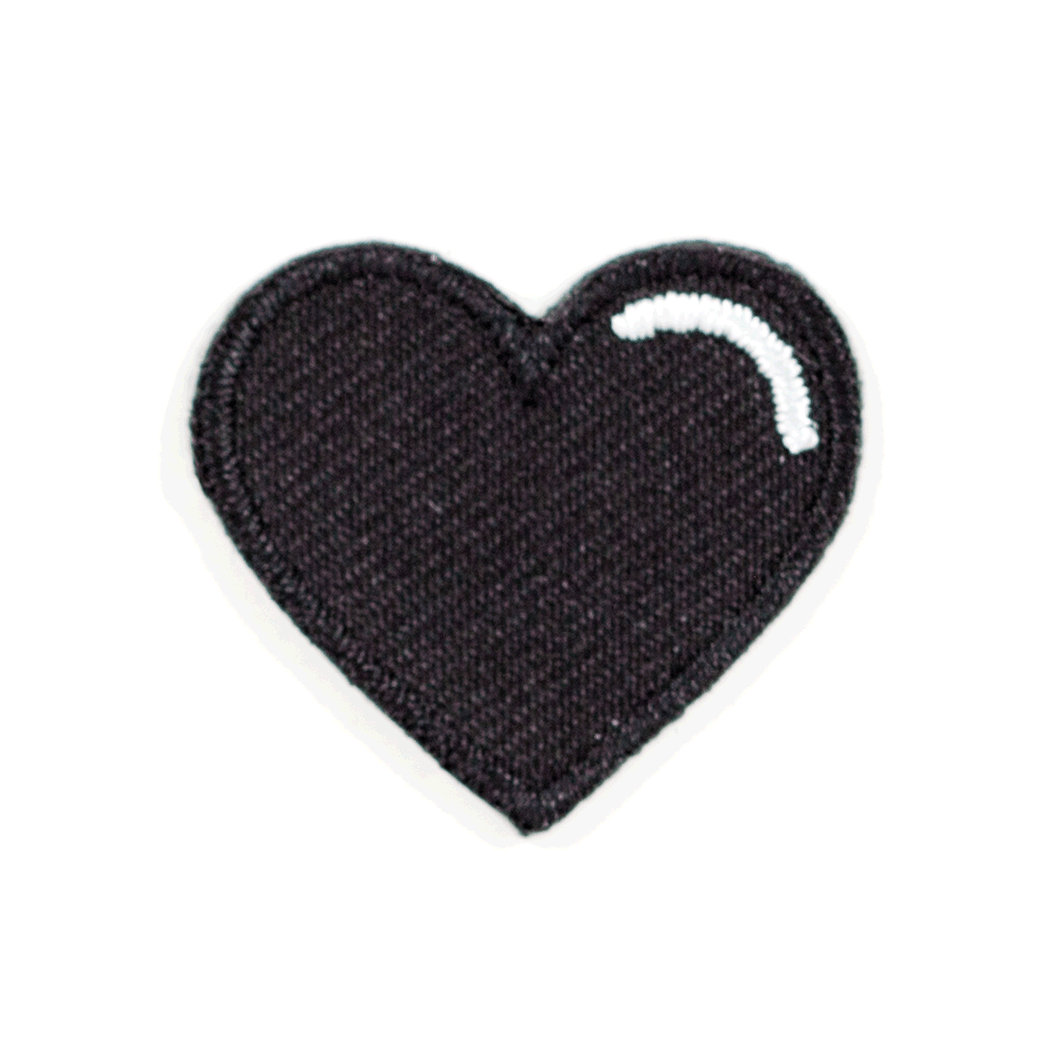 Black Heart Embroidered Sticker Patch