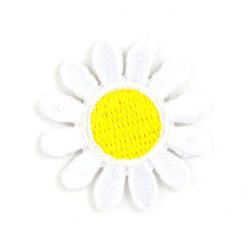 White Daisy Embroidered Sticker Patch