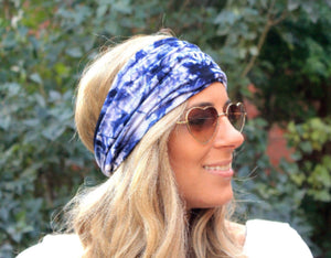 Tie dye tapered headband midnight blue