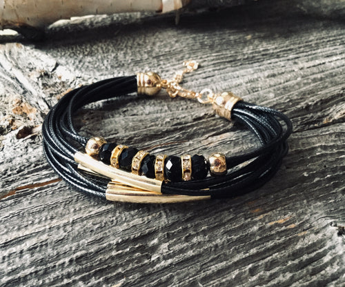 Layered leather bracelet with crystals