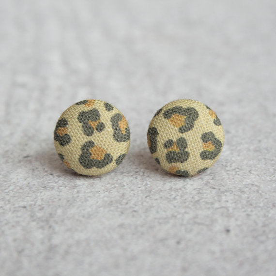 Rachel O's - Leopard Fabric Button Earrings