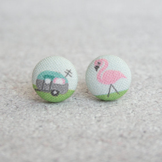 Livin' the Life Fabric Button Earrings