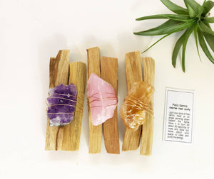 Rock n' Air - Palo Santo Set w-Amethyst, Citrine, Rose Quartz