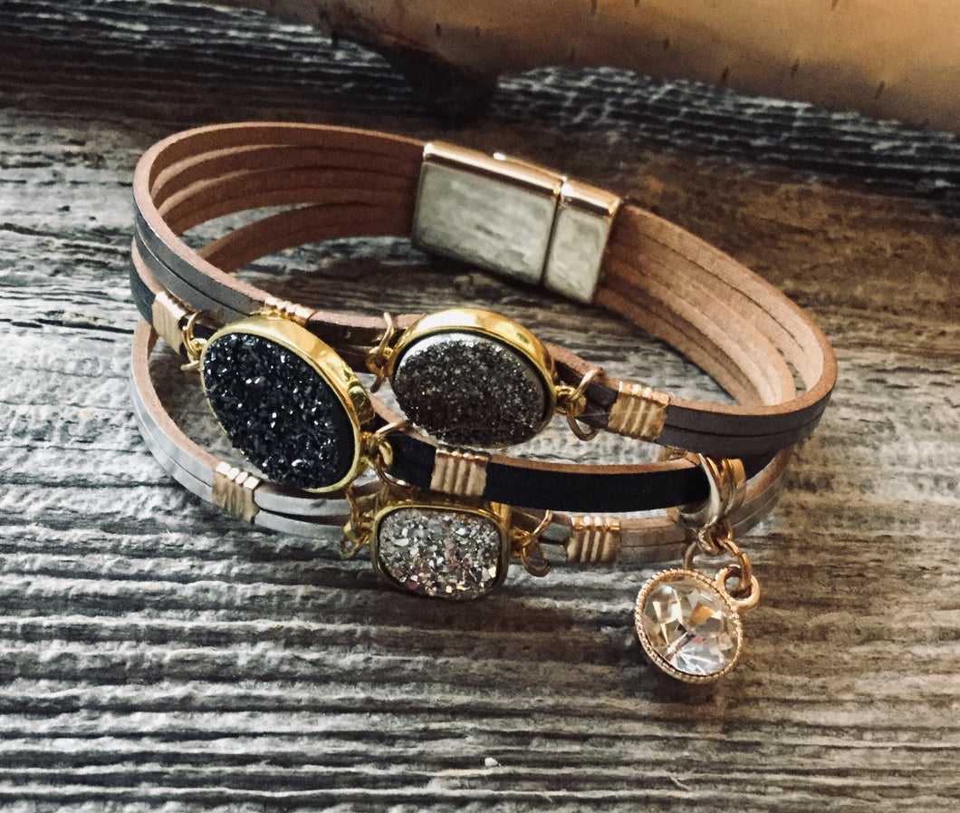 Triple druzy leather bracelet