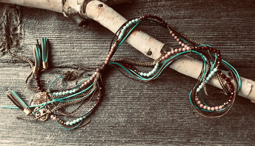 Beautifull Boundaries - Funky necklace- rustic turquoise