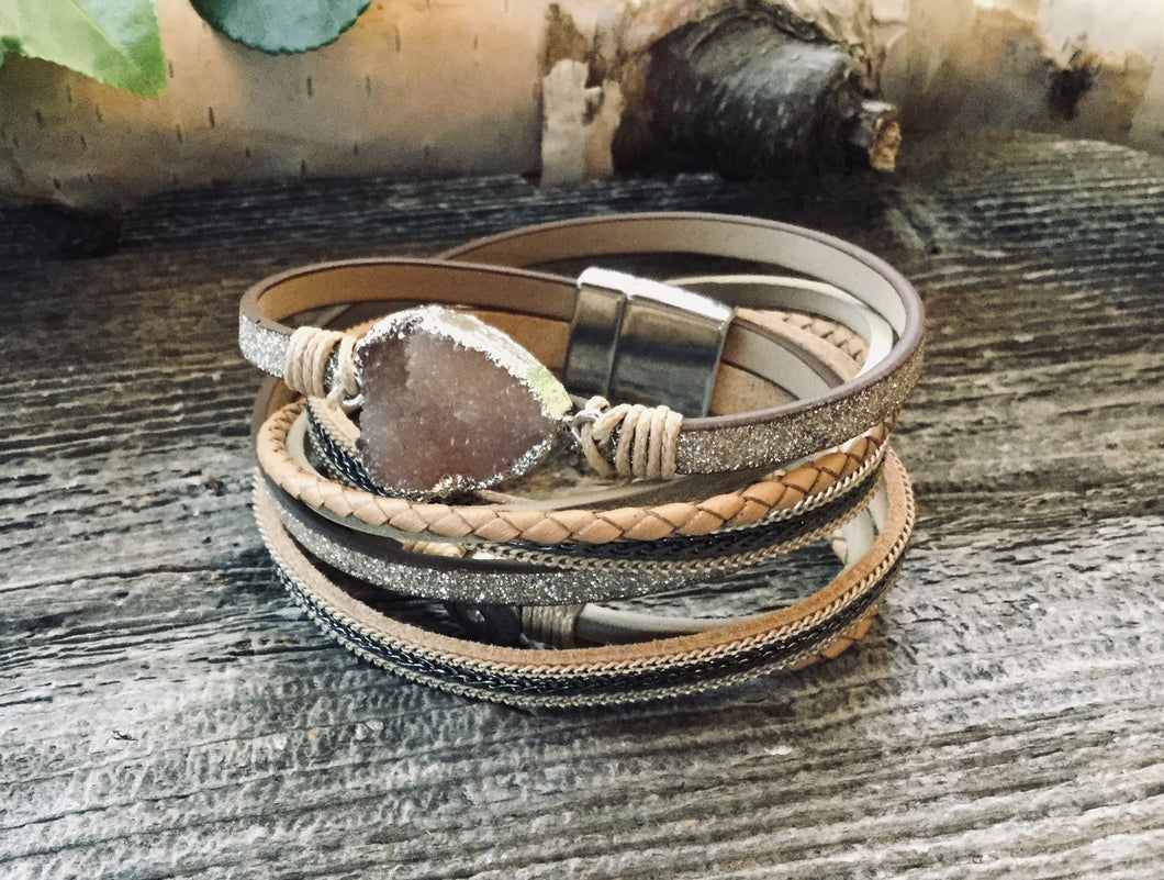 Natural leather wrap bracelet with druzy