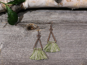 Boho Triangle Tassel Earrings in Sage