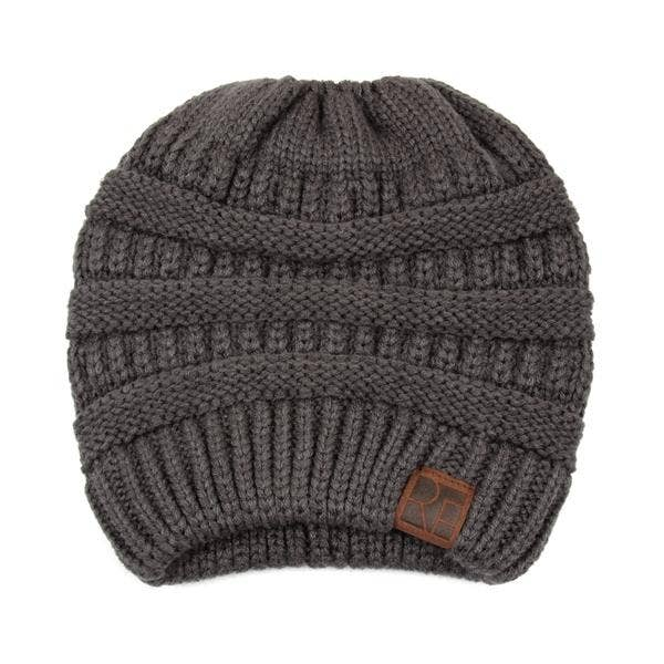 Knitted Ponytail Beanie Dark Gray