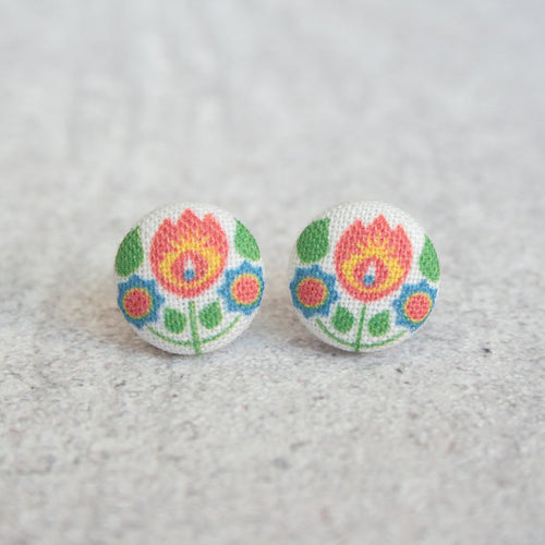 Bohemian Fabric Button Earrings