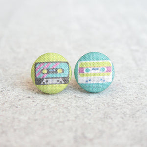 Cassette Tapes, Fabric Covered Button Earrings