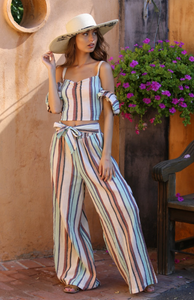 Belted and Striped Palazzo