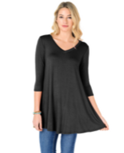 3/4 Sleeve Tunic in Black
