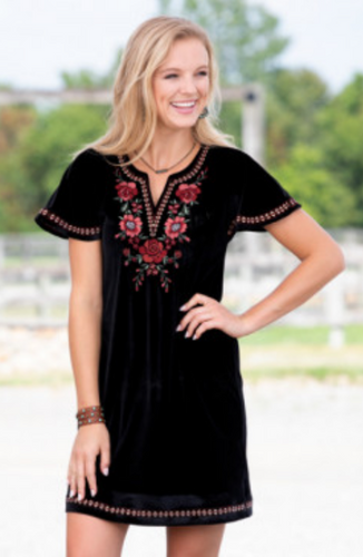 Embroidered Black Velvet Dress