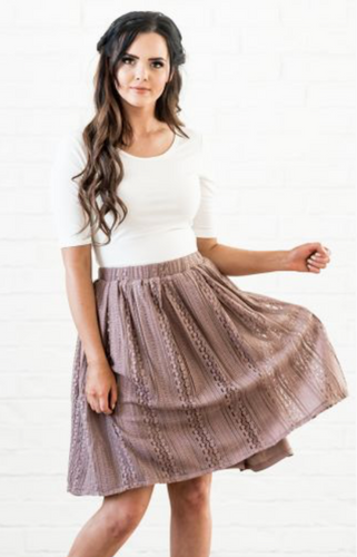 Champagne Lace A Line Skirt
