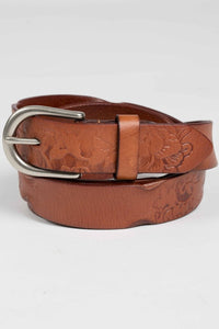 Flower Belt in Leather