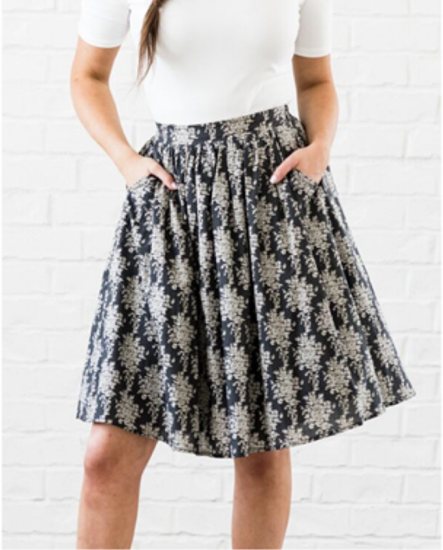 Grey Damask Floral Skirt